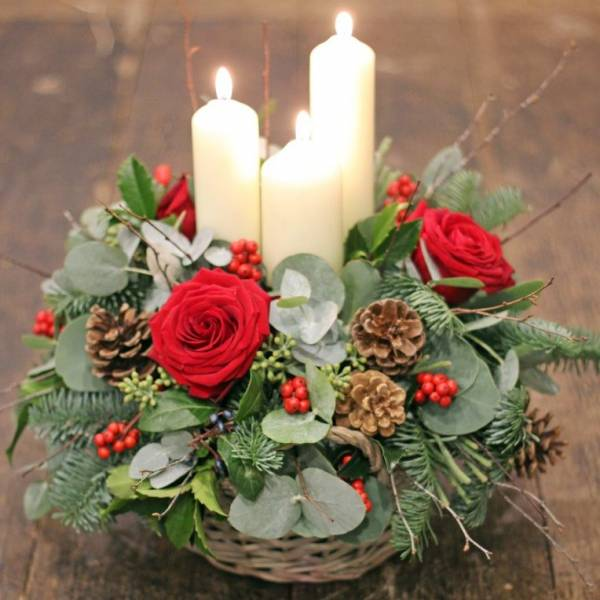 Three Candle Basket Arrangement 1