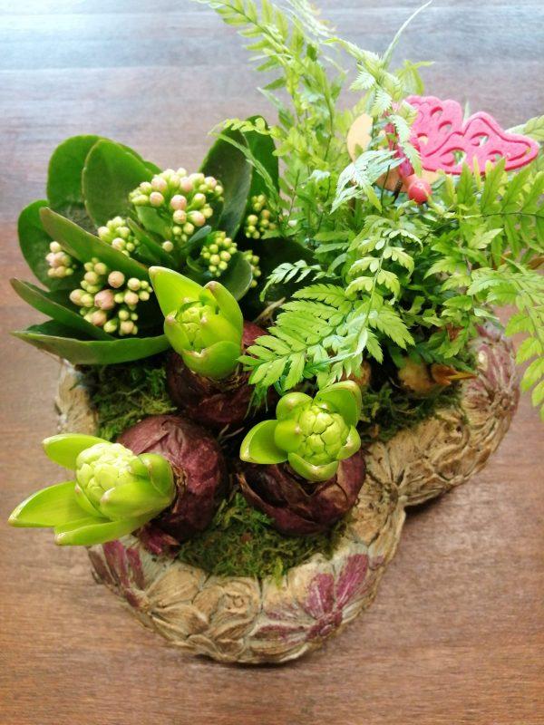 Mixed Plants in a Heart Pot - Best Buds Florist