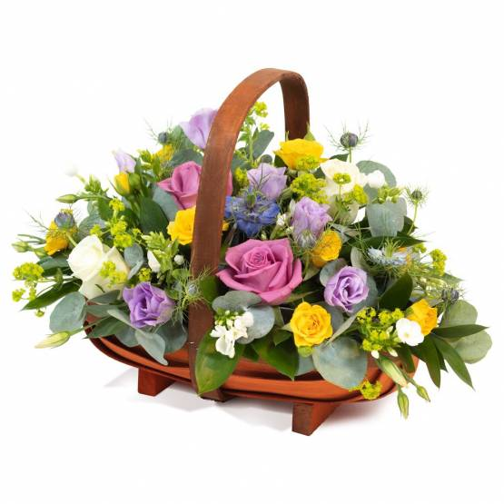 Pinks Yellows Purples Whites Basket - Best Buds Florist